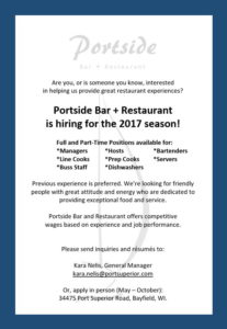 Portside Hiring for the 2017 Season!
